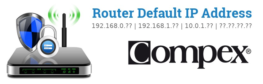 Image of a Compex router with 'Router Default IP Addresses' text and the Compex logo