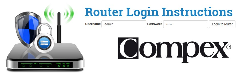 Image of a router with a login password lock and the Compex logo