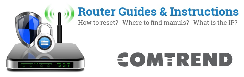Image of a Comtrend router with 'Router Reset Instructions'-text and the Comtrend logo