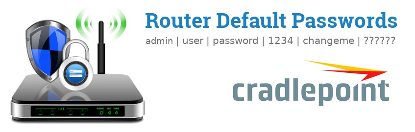 Image of a CradlePoint router with 'Router Default Passwords' text and the CradlePoint logo