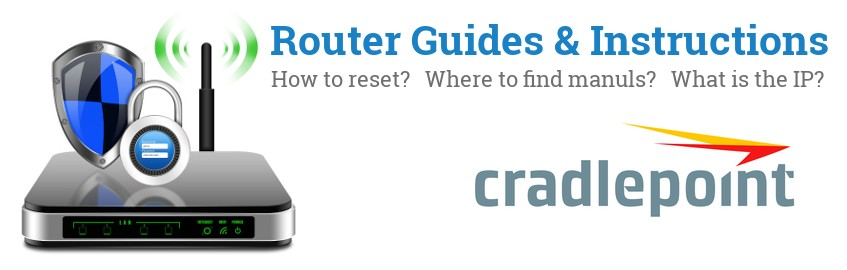 Image of a CradlePoint router with 'Router Reset Instructions'-text and the CradlePoint logo