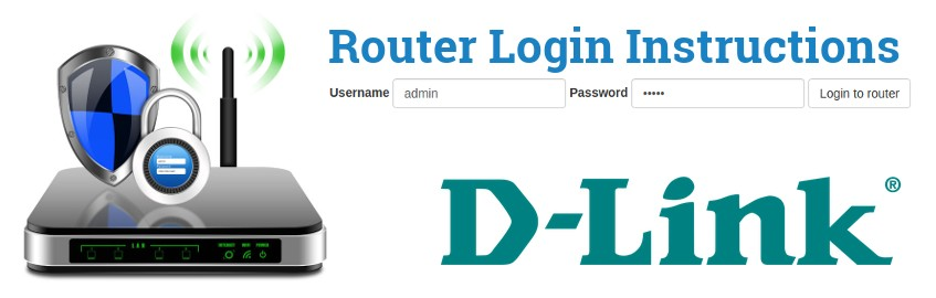 Image of a router with a login password lock and the D-Link logo