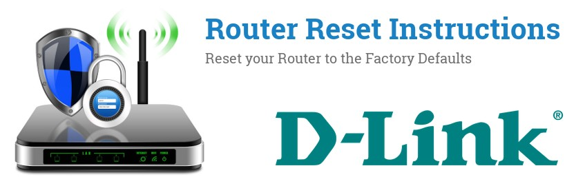 Image of a D-Link router with 'Router Reset Instructions'-text and the D-Link logo