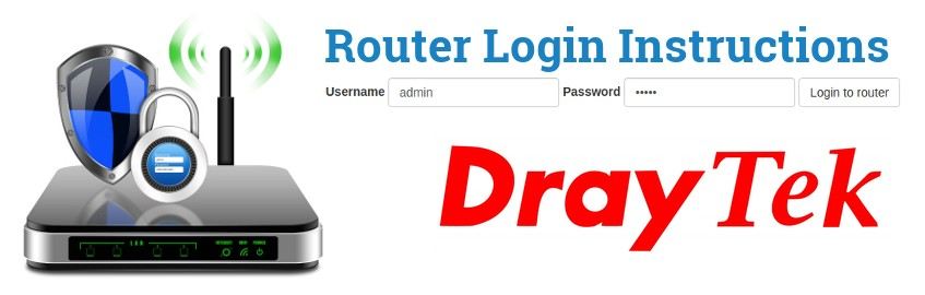Image of a router with a login password lock and the DrayTek logo