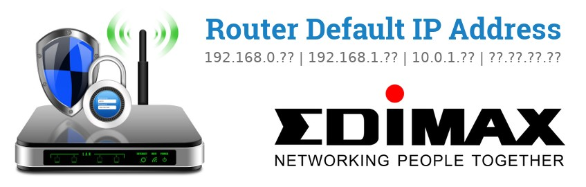 Image of a Edimax router with 'Router Default IP Addresses' text and the Edimax logo