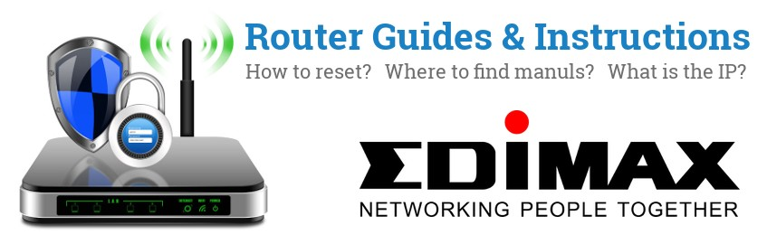 Image of a Edimax router with 'Router Reset Instructions'-text and the Edimax logo