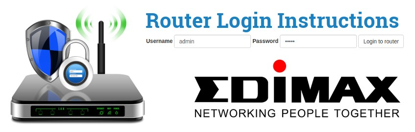 Image of a router with a login password lock and the Edimax logo