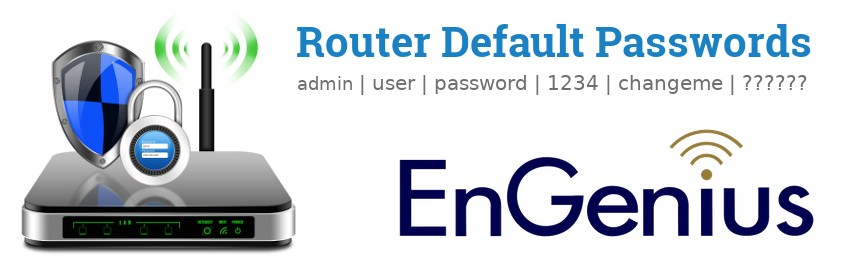 Image of a EnGenius router with 'Router Default Passwords' text and the EnGenius logo