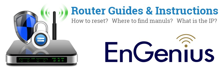 Image of a EnGenius router with 'Router Reset Instructions'-text and the EnGenius logo