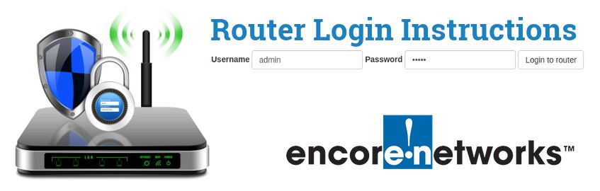 Image of a router with a login password lock and the Encore logo