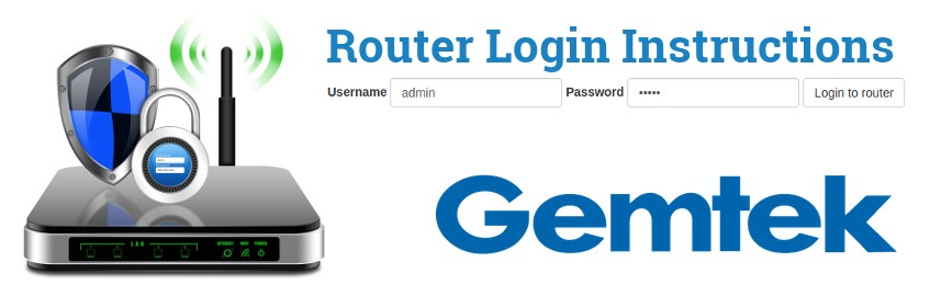 Image of a router with a login password lock and the Gemtek logo