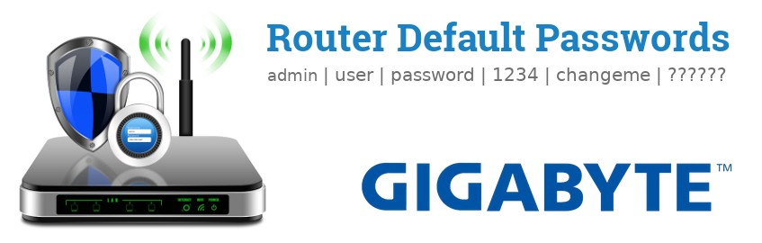 Image of a Gigabyte router with 'Router Default Passwords' text and the Gigabyte logo