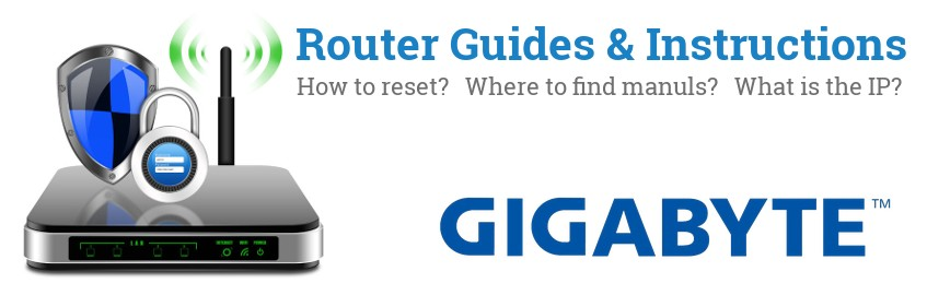 Image of a Gigabyte router with 'Router Reset Instructions'-text and the Gigabyte logo