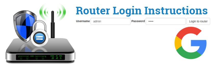Image of a router with a login password lock and the Google logo