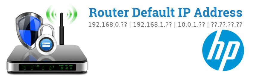 Image of a HP router with 'Router Default IP Addresses' text and the HP logo