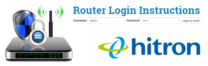 Image of a router with a login password lock and the Hitron logo