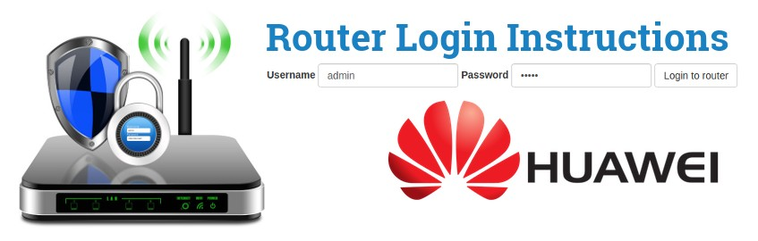 Image of a router with a login password lock and the Huawei logo