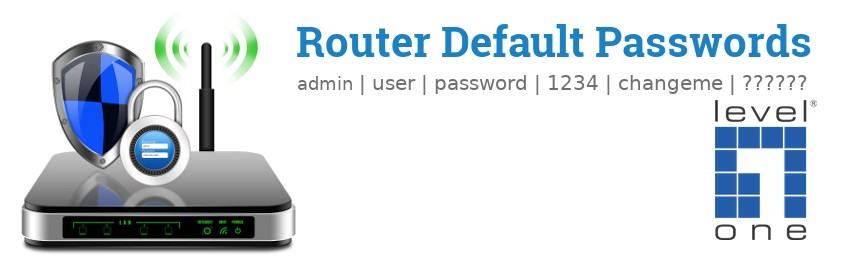 Image of a LevelOne router with 'Router Default Passwords' text and the LevelOne logo