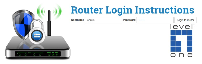 Image of a router with a login password lock and the LevelOne logo