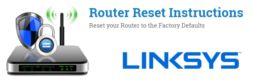 Image of a Linksys router with 'Router Reset Instructions'-text and the Linksys logo