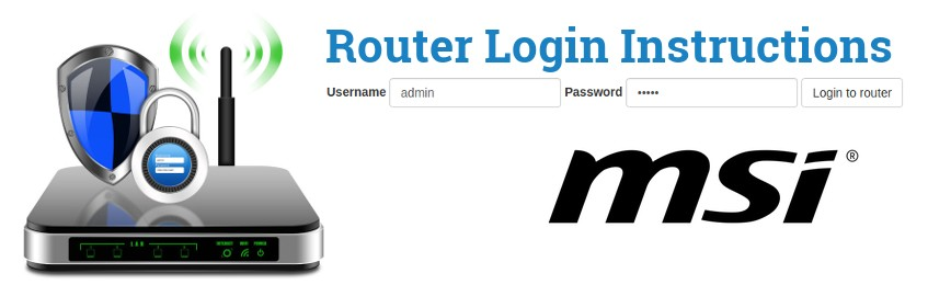 Image of a router with a login password lock and the MSI logo