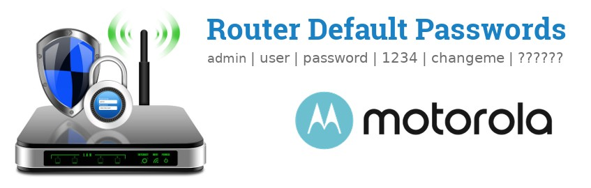 Image of a Motorola router with 'Router Default Passwords' text and the Motorola logo