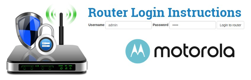 Image of a router with a login password lock and the Motorola logo