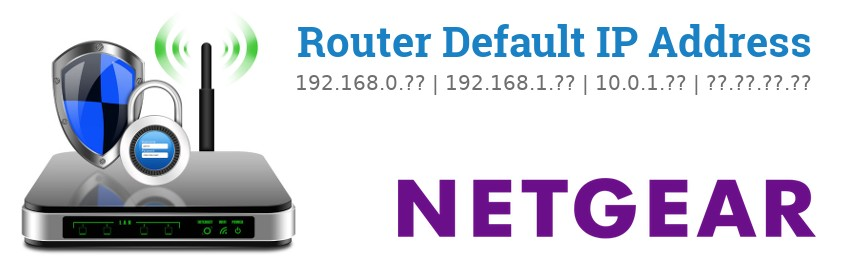 Image of a Netgear router with 'Router Default IP Addresses' text and the Netgear logo