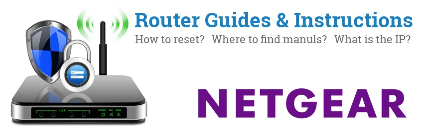 Image of a Netgear router with 'Router Reset Instructions'-text and the Netgear logo