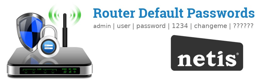 Image of a Netis router with 'Router Default Passwords' text and the Netis logo