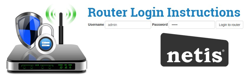 Image of a router with a login password lock and the Netis logo