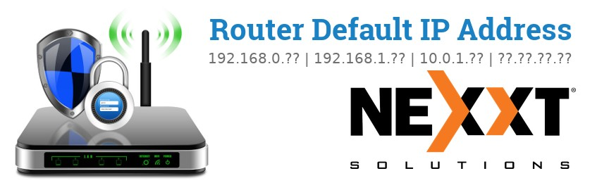 Image of a Nexxt Solutions router with 'Router Default IP Addresses' text and the Nexxt Solutions logo
