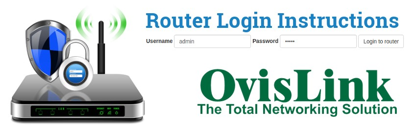 Image of a router with a login password lock and the OvisLink logo