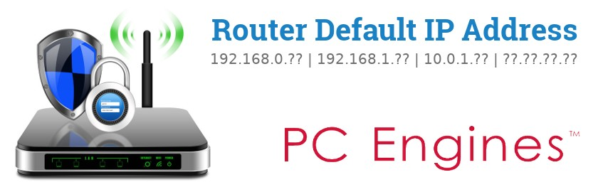 Image of a PC-Engines router with 'Router Default IP Addresses' text and the PC-Engines logo