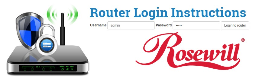 Image of a router with a login password lock and the Rosewill logo