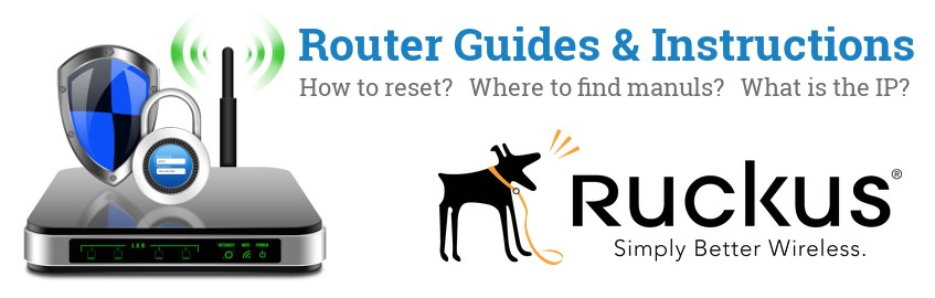Image of a Ruckus Wireless router with 'Router Reset Instructions'-text and the Ruckus Wireless logo