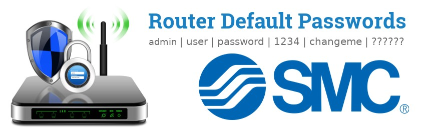 Image of a SMC router with 'Router Default Passwords' text and the SMC logo