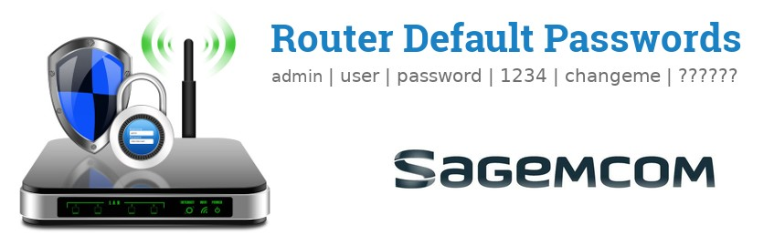 Image of a Sagemcom router with 'Router Default Passwords' text and the Sagemcom logo