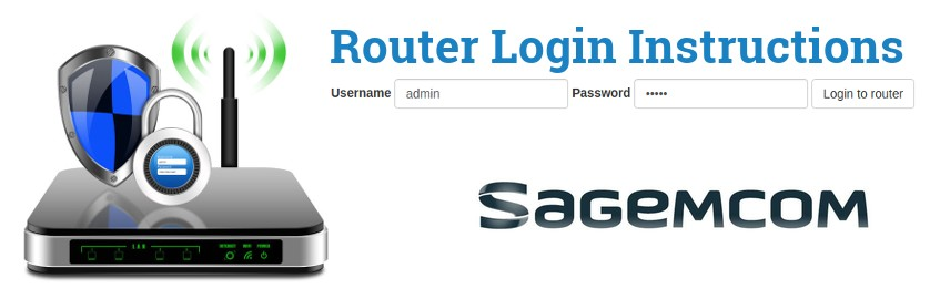 Image of a router with a login password lock and the Sagemcom logo
