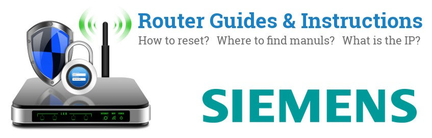 Image of a Siemens router with 'Router Reset Instructions'-text and the Siemens logo