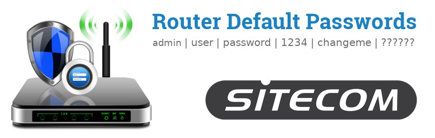 Image of a Sitecom router with 'Router Default Passwords' text and the Sitecom logo