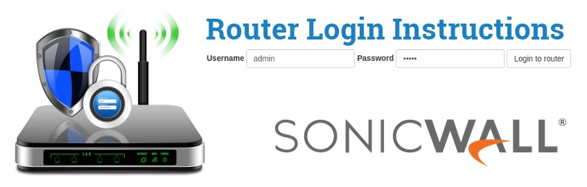 Image of a router with a login password lock and the SonicWALL logo