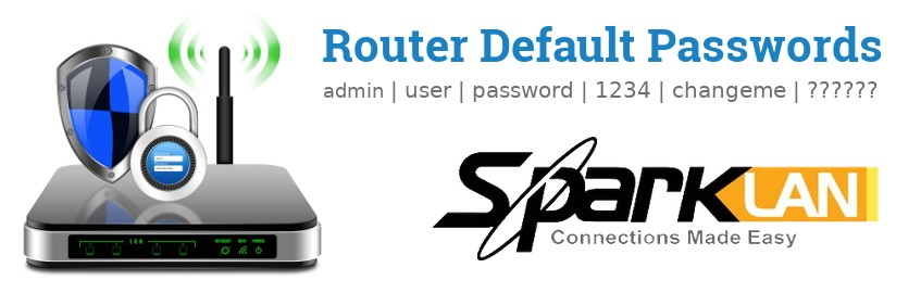 Image of a SparkLAN router with 'Router Default Passwords' text and the SparkLAN logo