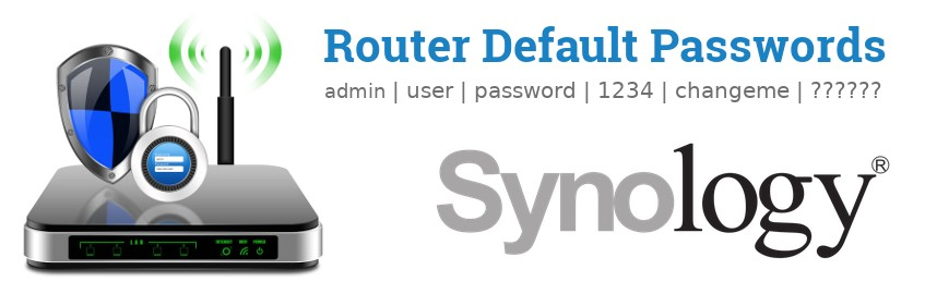 Image of a Synology router with 'Router Default Passwords' text and the Synology logo