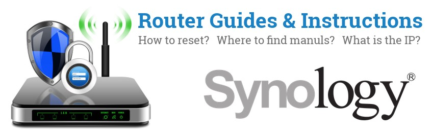 Image of a Synology router with 'Router Reset Instructions'-text and the Synology logo