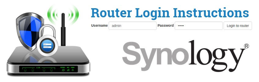 Image of a router with a login password lock and the Synology logo