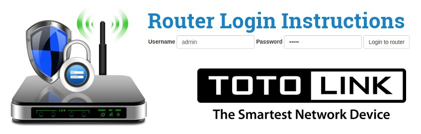 Image of a router with a login password lock and the TOTOLINK logo