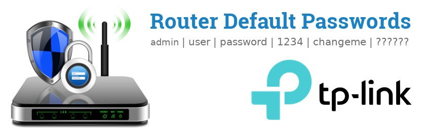 Image of a TP-LINK router with 'Router Default Passwords' text and the TP-LINK logo