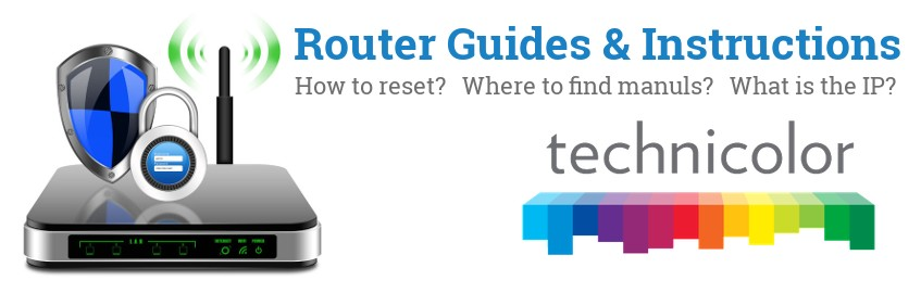 Image of a Technicolor router with 'Router Reset Instructions'-text and the Technicolor logo