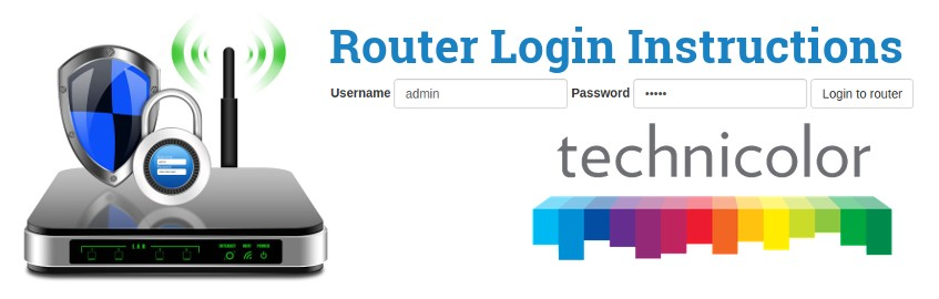 Image of a router with a login password lock and the Technicolor logo